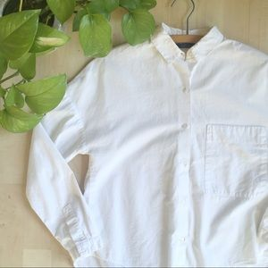 ZARA Collar Cropped Button Shirt 3/4 Sleeve White